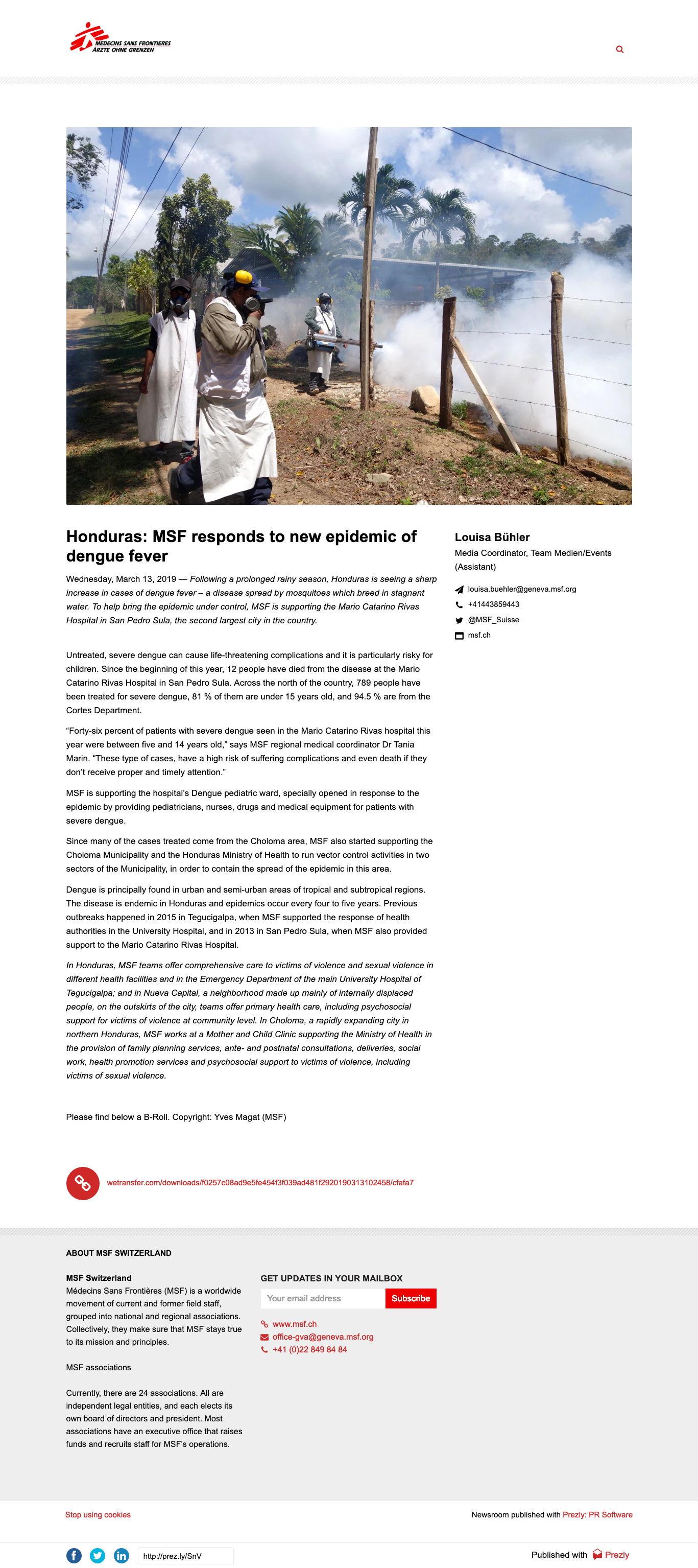Dengue Fever Response Press Release - MSF - Prezly