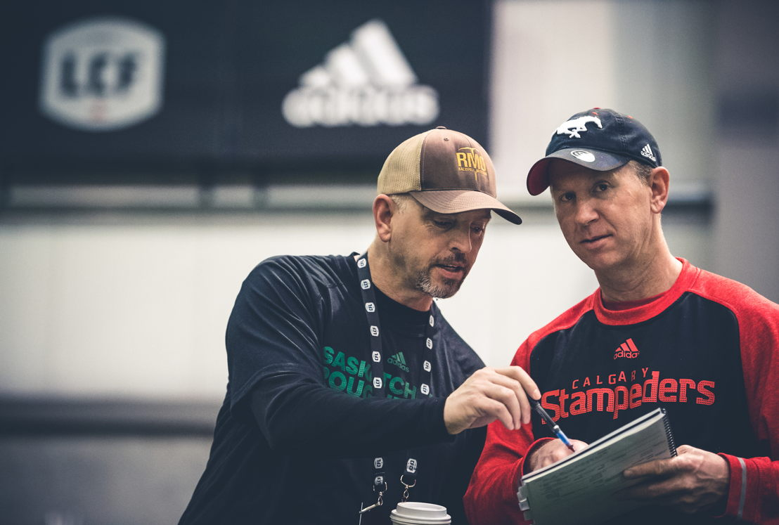 Craig and Dave Dickenson at the CFL Combine presented by adidas. Photo credit: Johany Jutras/CFL