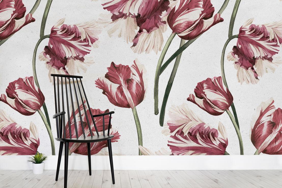 Vintage Red Tulip Print