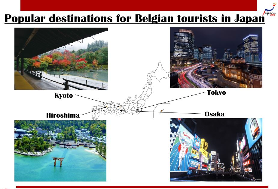 Japan - popular destinations for Belgian tourists