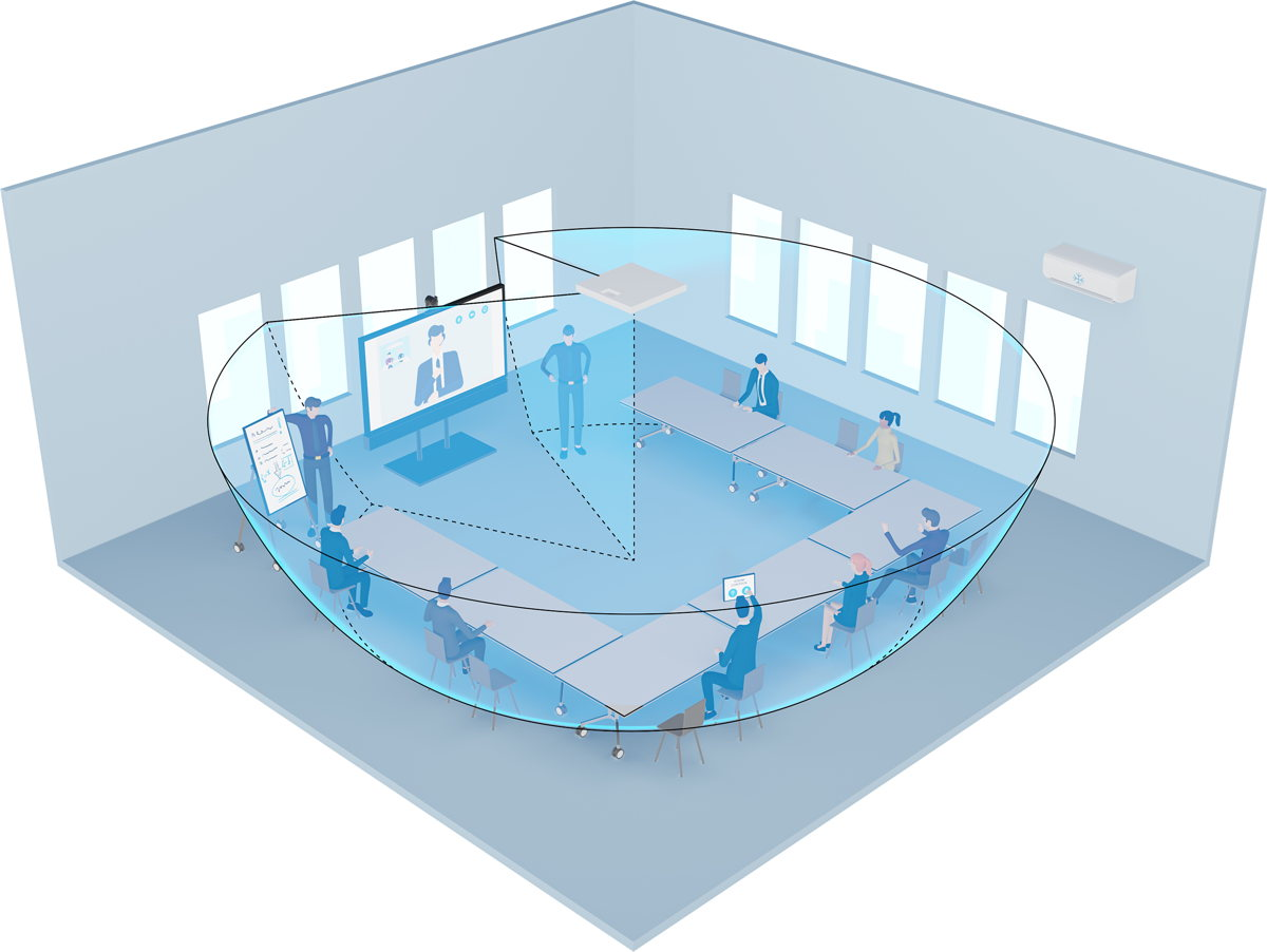 Graphical representation of the TCC2 coverage area (blue) within a meeting room, with exclusion zones defined. The zones have been chosen such as to eliminate noise from the air conditioning on the right-hand side and to not pick up sound from the screen's loudspeakers