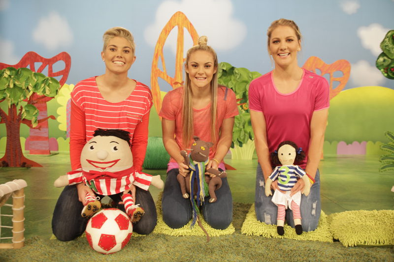 ABC KIDS' Play School toys with players from The Matildas - Play School Celebrity Covers