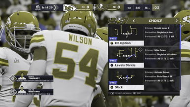 The Tampa Bay play calling screen in Madden NFL 21 simulated as seen by someone with deuteranopia (red-green color blindness). Players who have deuteranopia will find it difficult to distinguish between the different types of routes.