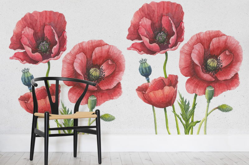 Illustrative Poppies Mural