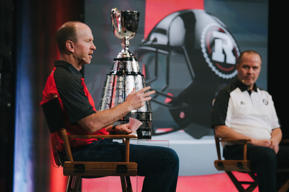 Dave Dickenson (L) & Rick Campbell (R) at the Grey Cup Head Coaches' Press Conference. Photo credit: Johany Jutras/CFL.ca