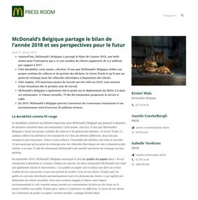 McDonald's Belgique partage le bilan de l'année 2018 et ses perspectives pour le futur