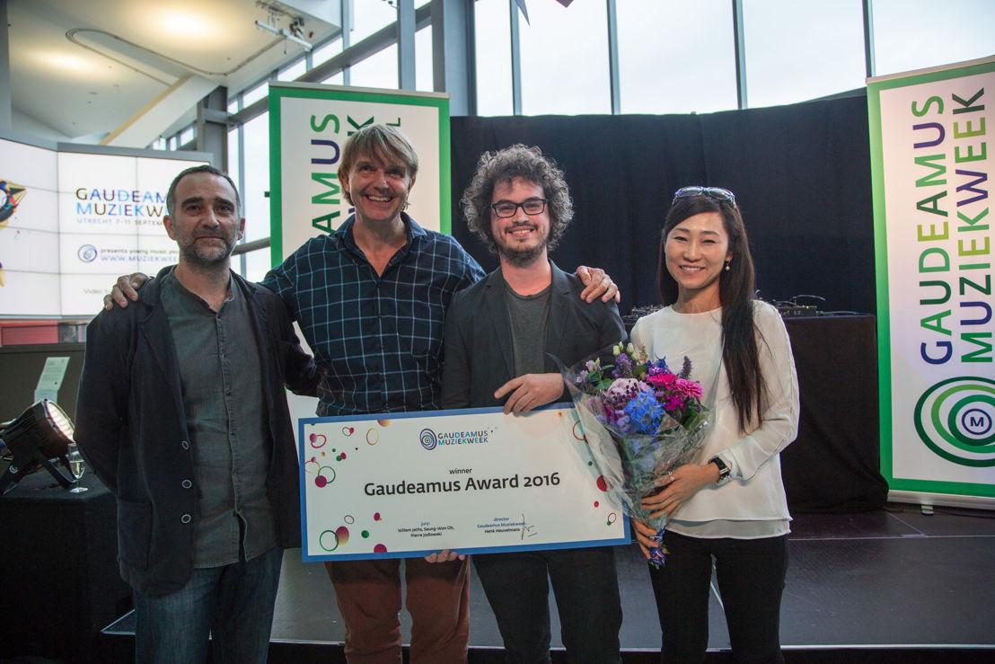 Gaudeamus Award 2016: vlnr. Pierre Jodlowski, Willem Jeths, Anthony Vine, Seung-Won Oh (c) Herre Vermeer