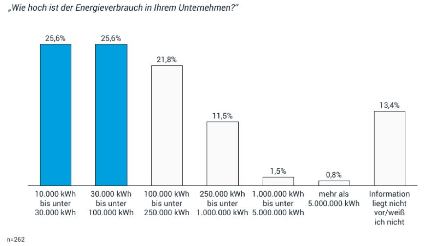 Bei 25,6 % der befragten Unternehmen liegt der Energieverbrauch des Unternehmens bei 10.000 kWh bis unter 30.000 kWh.