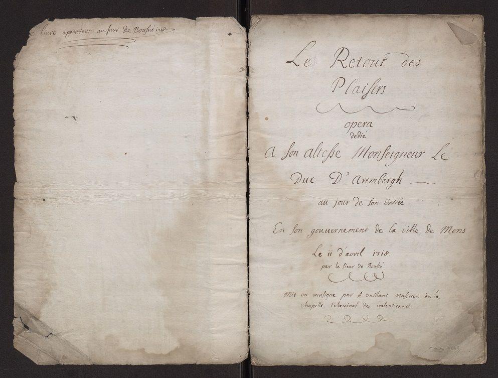 """Page titre """"Le retour des plaisirs"""" Mus. Ms. 4448"""