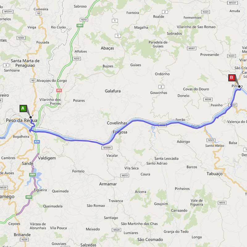 De N-222 van Peso da Régua naar Pinhão: Route