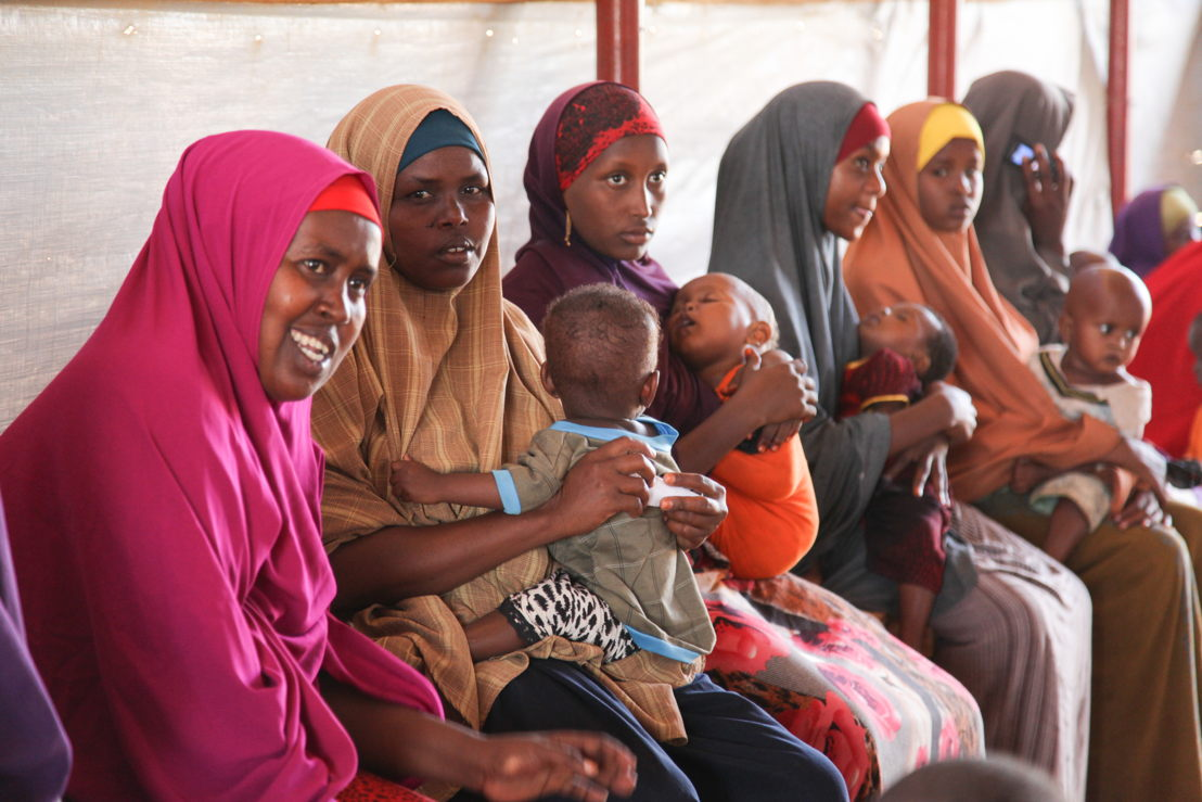 Women and children wait to be attended to at one of MSF's four health posts in Dagahaley refugee camp, Dadaab, Kenya. Photographer: Tom Maruko