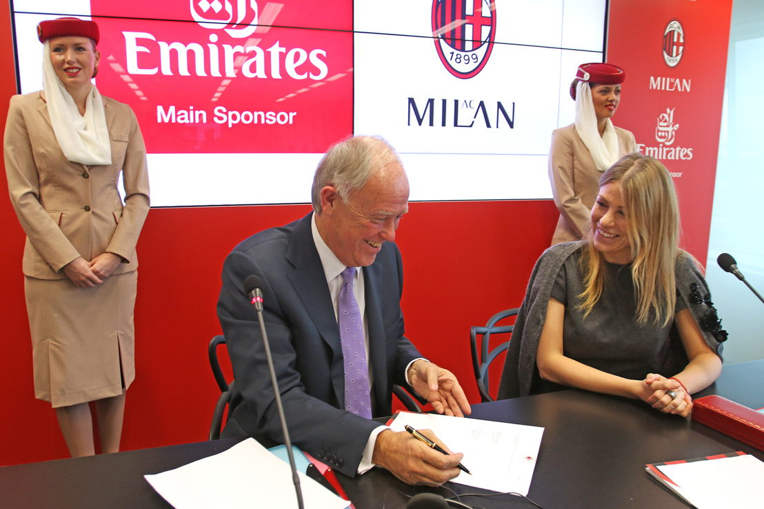 Sir Tim Clark, President Emirates Airline and AC Milan President Barbara Berlusconi, today agreed a new five year sponsorship deal, extending the airline's presence on the club's shirts until the 2019/2020 season