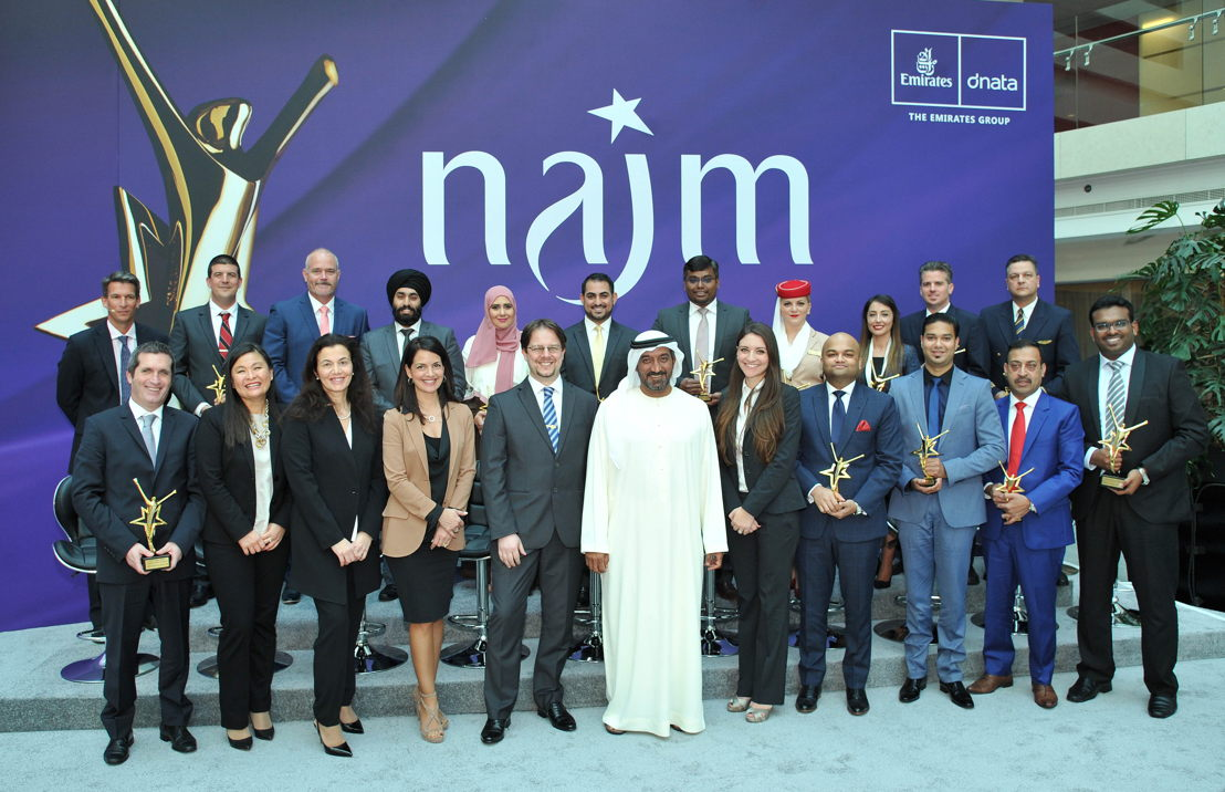 2016 Najm Chairman's Award winners with His Highness Sheikh Ahmed bin Saeed Al-Maktoum, Chairman and Chief Executive of Emirates Airline and Group