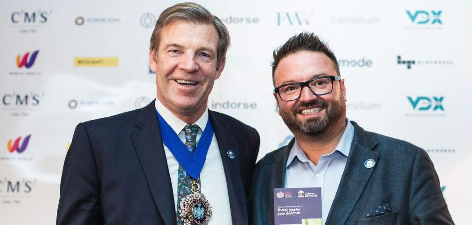 The 697th Lord Mayor of London William Russell and Crypto AM's Editor James Bowater.