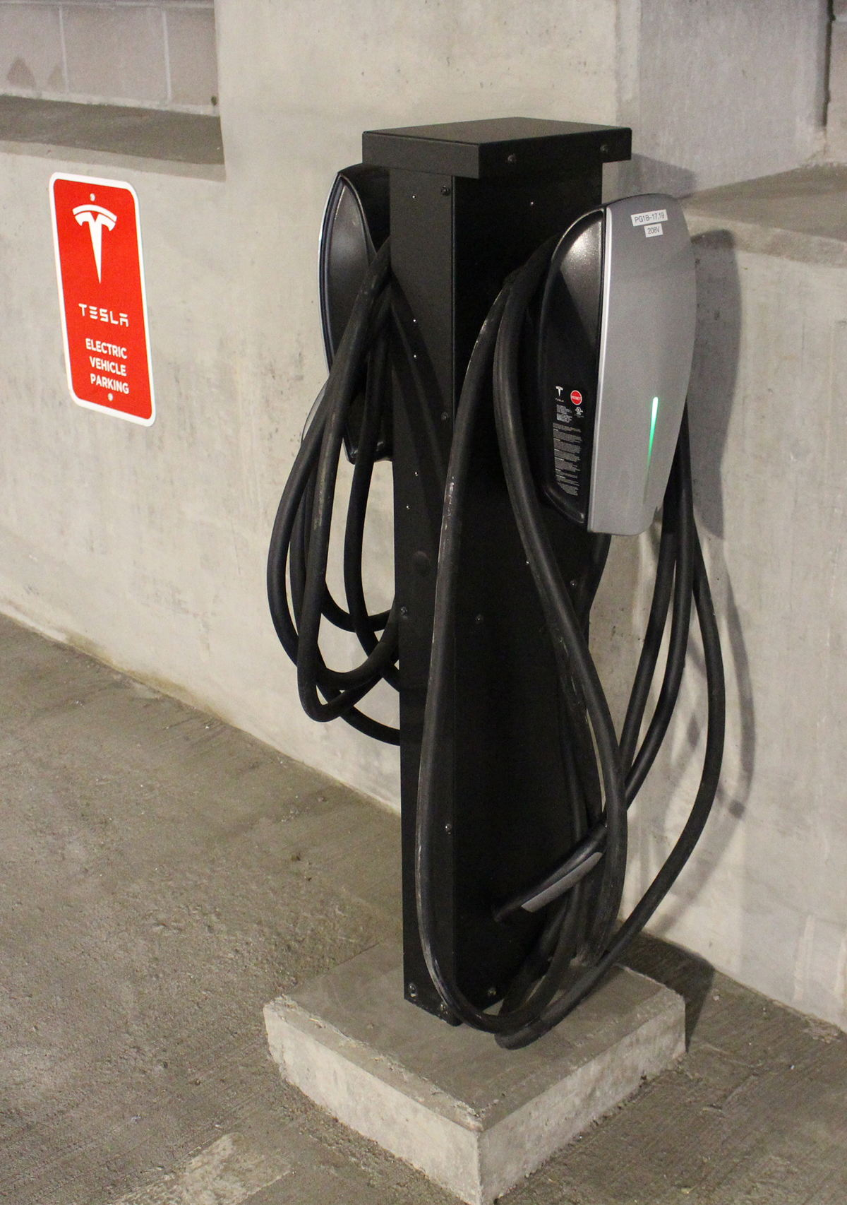 Tesla charging station in the new Monarch Casino Resort Spa parking garage