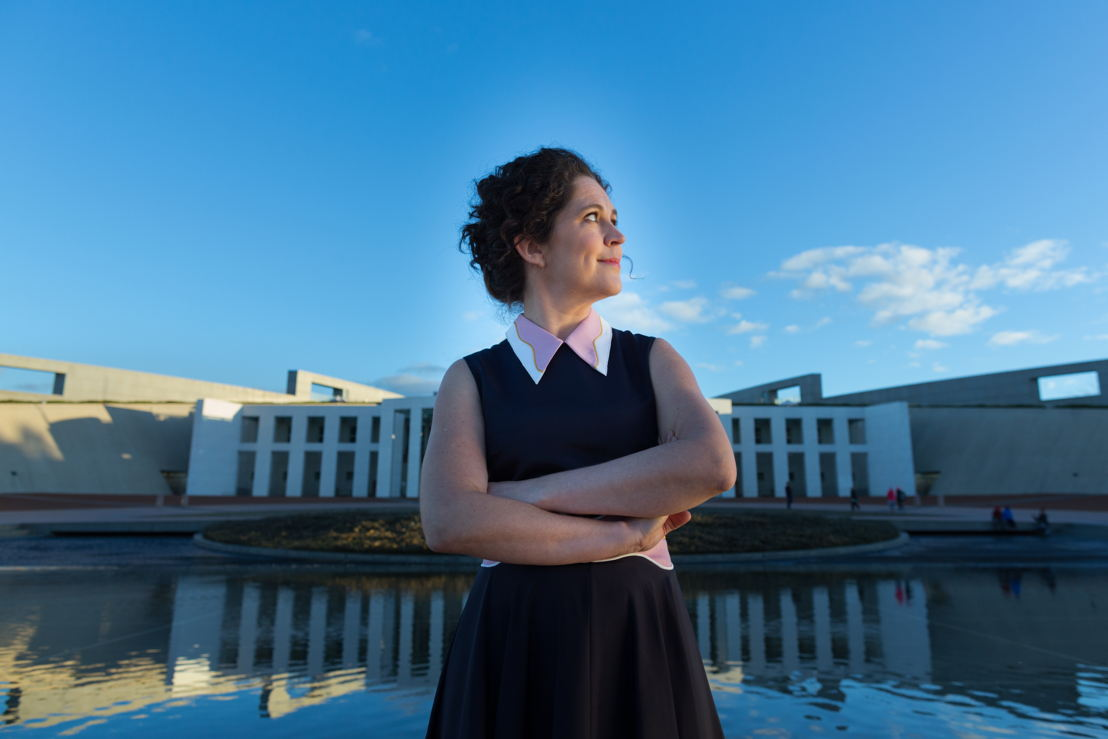 Annabel Crabb outside Parliament House. Photo by Josh Flavell.