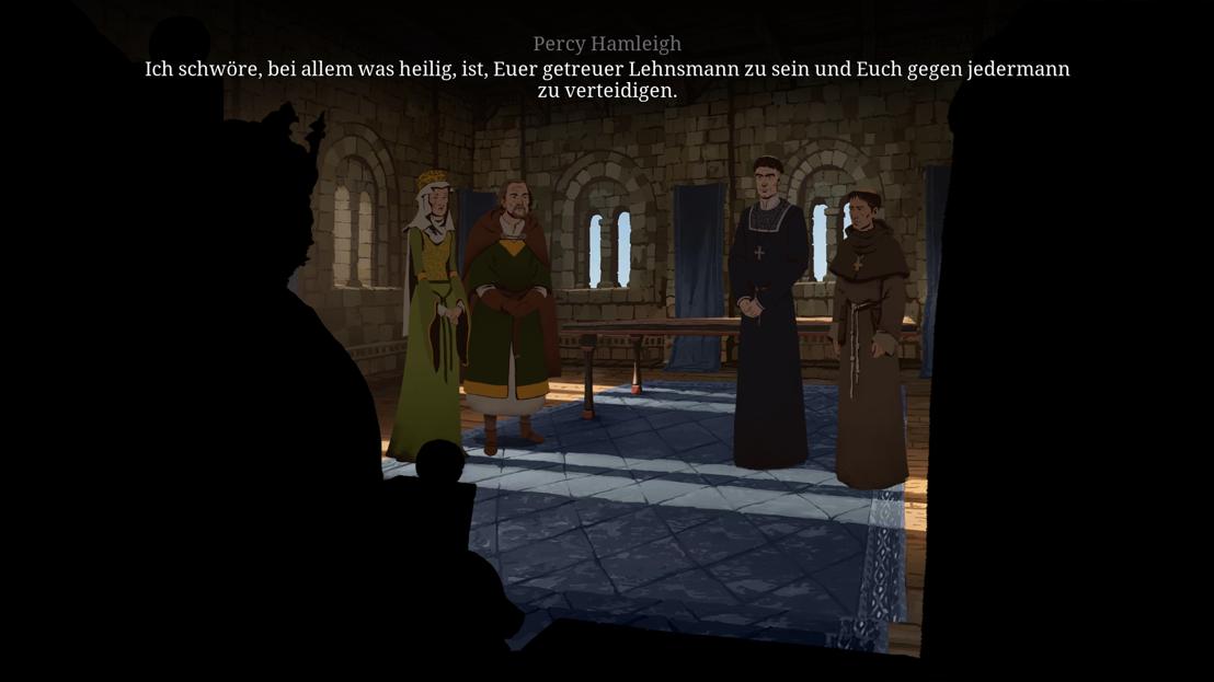 Regan, Percey Hamleigh, Waleran und Philip beim König