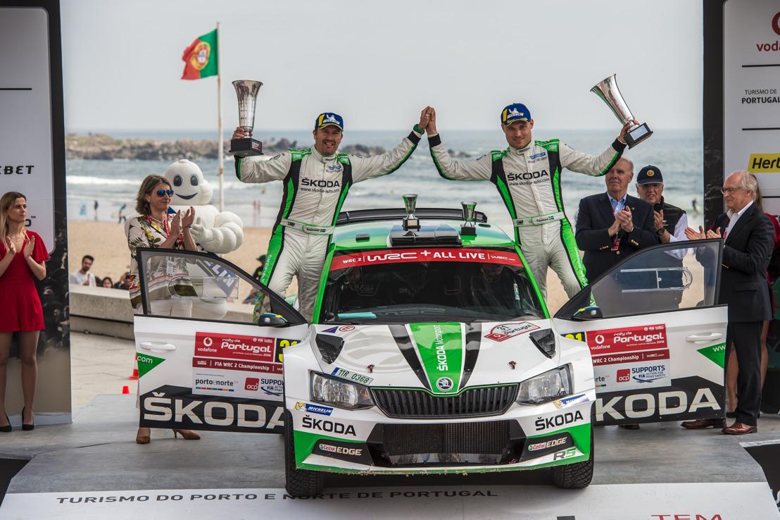 Rally Portugal: Pontus Tidemand achieved hat-trick win for ŠKODA increasing championship lead
