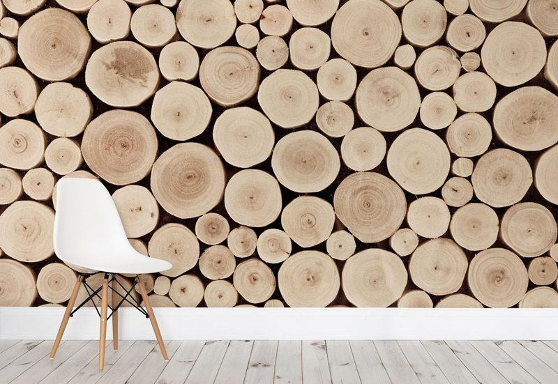 Chopped Beech Logs Wall Mural