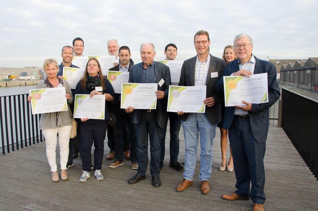 11 van de 14 sponsorende bedrijven, gouden, zilveren en bronzen peters van het Landschapsfonds