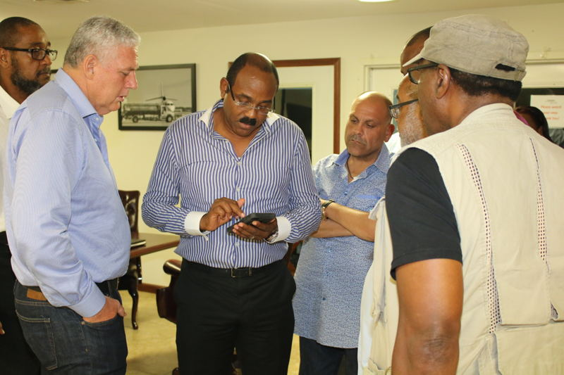 The OECS Delegation meets with Prime Minister Browne in Antigua.