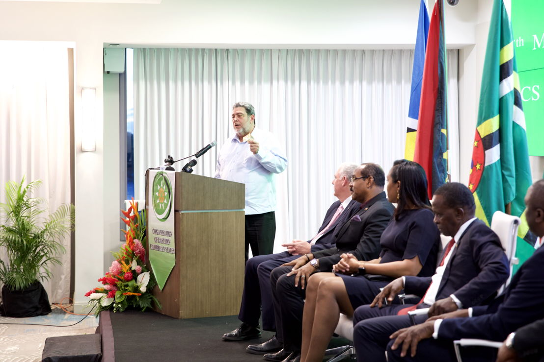 Incoming Chairman of the OECS Authority, Dr. the Hon. Ralph Gonsalves, delivers remarks at the Opening Ceremony.