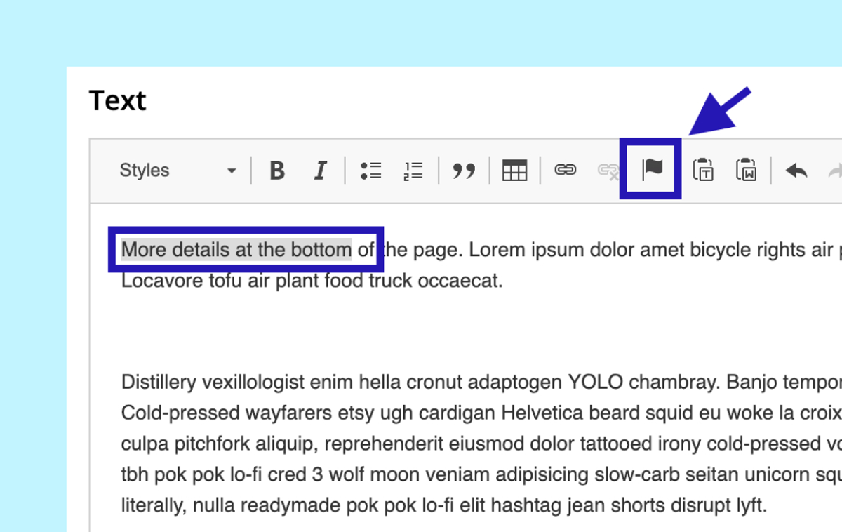Help: Creating anchor links in your Story (Old Story Editor)