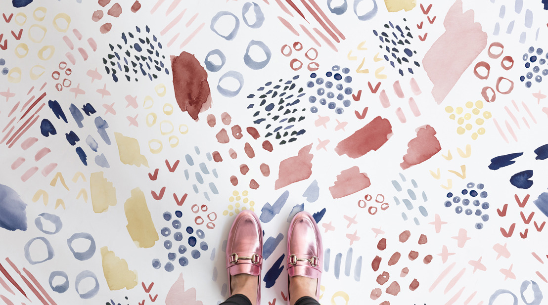 Abstract Watercolour is summer's most playful flooring trend