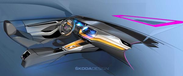 Preview: Designschetsen geven eerste blik op het interieurconcept van de nieuwe ŠKODA OCTAVIA