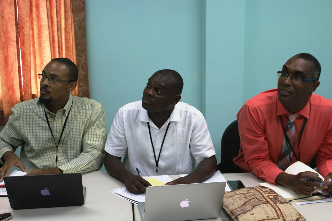 OECS Delegation conversing with representatives from OECS Protocol Member States via Zoom web-conference.
