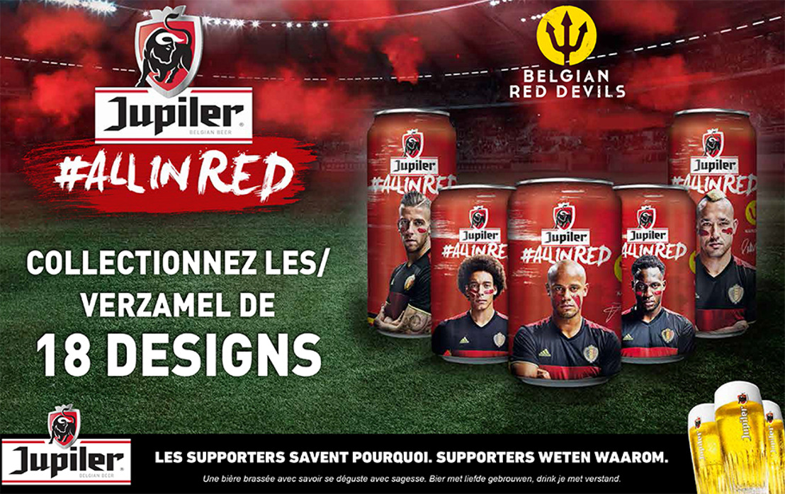 #ALLINRED : Jupiler lance des canettes Diables rouges exclusives