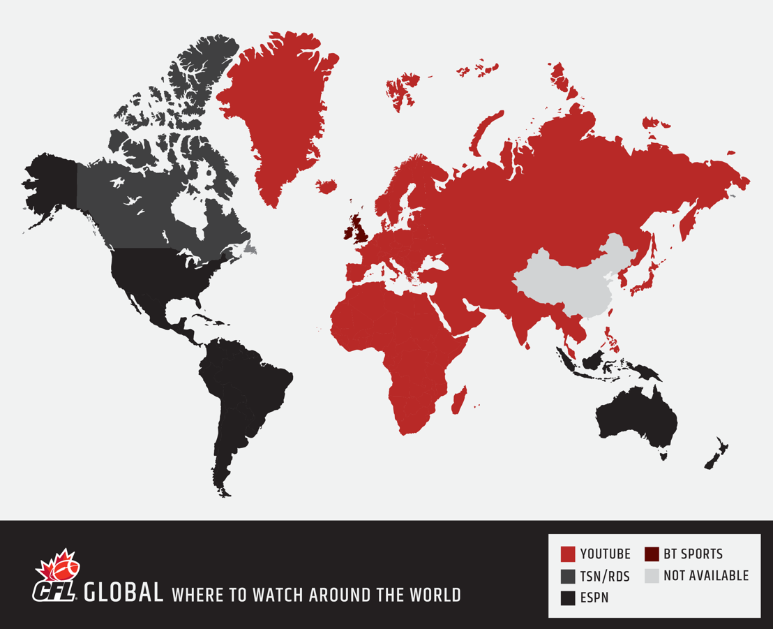 A map of where you can watch the 103rd Grey Cup presented by Shaw around the world