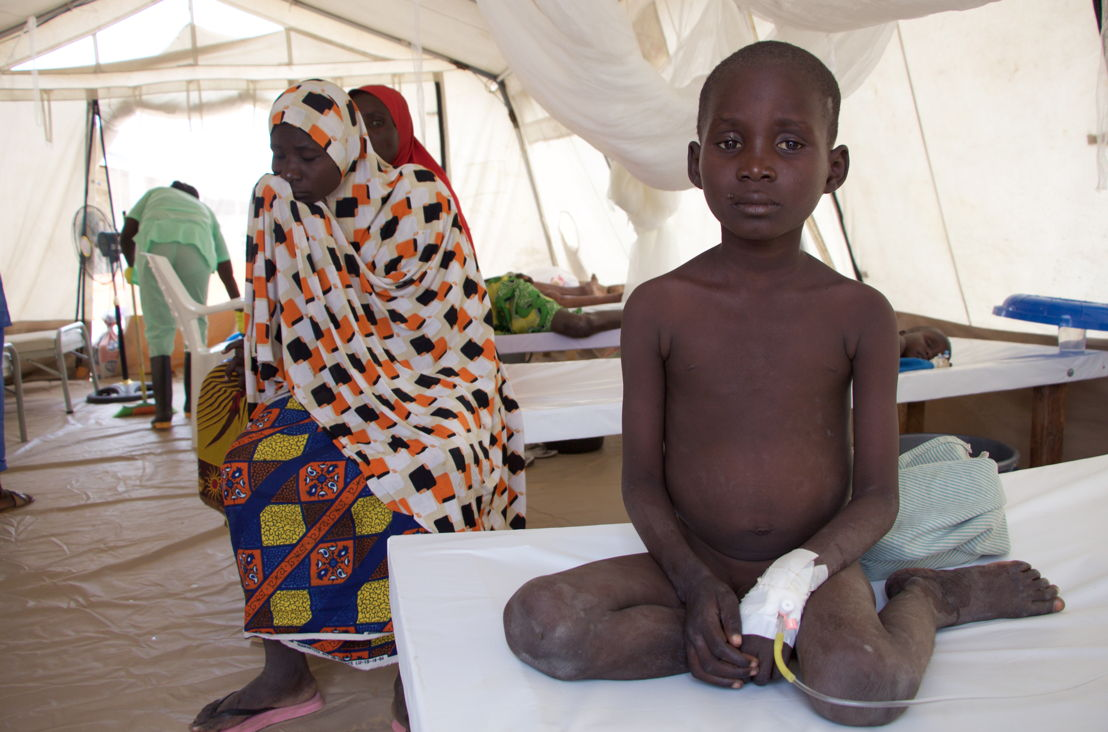 A child from Muna Camp, undergoing treatment, at MSF's Cholera Treatment Unit in Dala, Maiduguri. Children, especially if they are undernourished are at a greater risk of death, if infected by cholera.