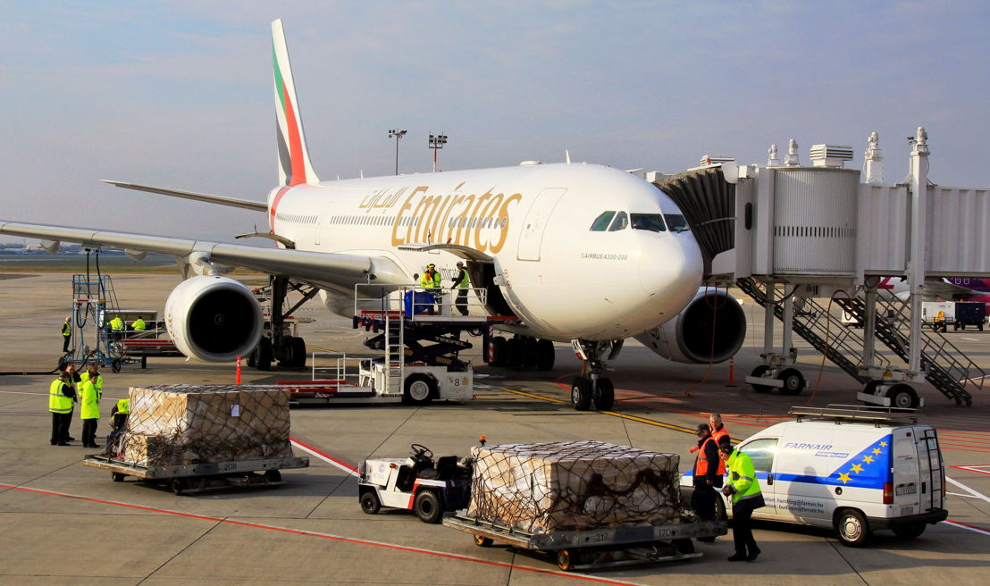 Cargo being loaded onto Emirates' Airbus A330-200 aircraft at Budapest International Airport