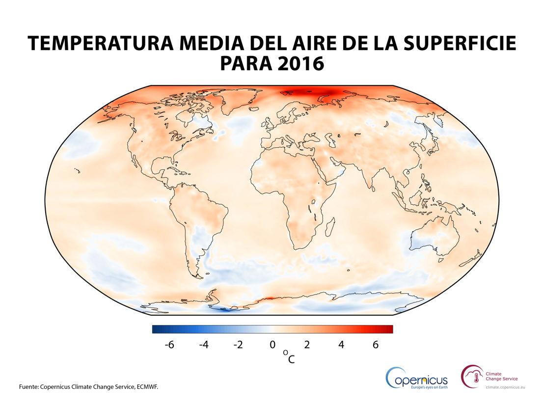 Temperatura del aire a una altura de dos metros para 2016, mostrada con respecto a la media de 1981-2010.<br/><br/>Fuente: Copernicus Climate Change Service, ECMWF
