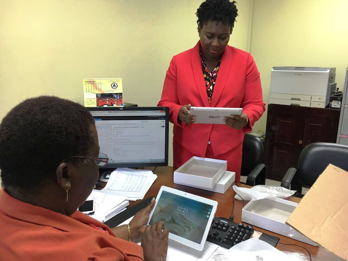 Arrival of tablets at the St. Vincent and the Grenadines Department of Statistics.