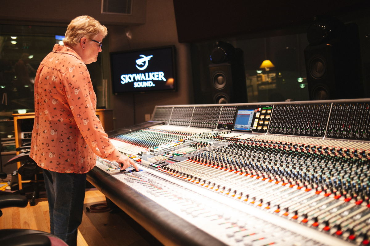 Leslie Ann Jones, Director of Music Recording & Scoring at Skywalker Sound, in the control room of the Scoring Stage at Skywalker Ranch
