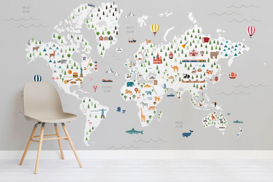 Grey Ultimate Kids Map Wall Mural