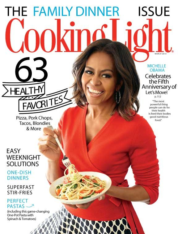 Michelle Obama con piatto di pasta
