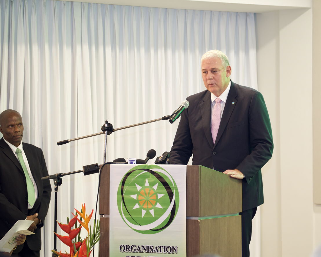 Outgoing Chairman of the OECS Authority, Hon. Allen Chastanet, addresses the gathering at the Opening Ceremony.