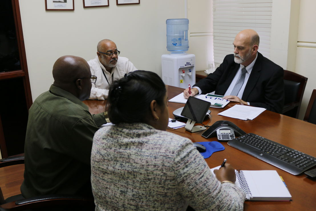USDA/APHIS Agricultural Specialist Renita Sewsaran, OECS Agriculture Unit Programme Officer George Alcee, Director General of the OECS Commission Dr. Didacus Jules and  Director of USDA/APHIS Safeguarding Initiative for the Greater Caribbean Dennis Martin.
