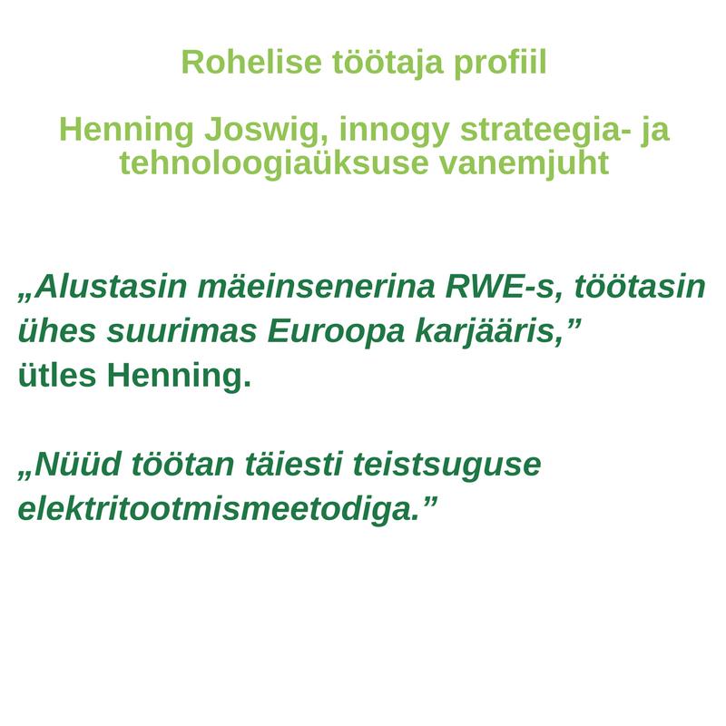 Rohelise töötaja profiil -<br/>Henning Joswig