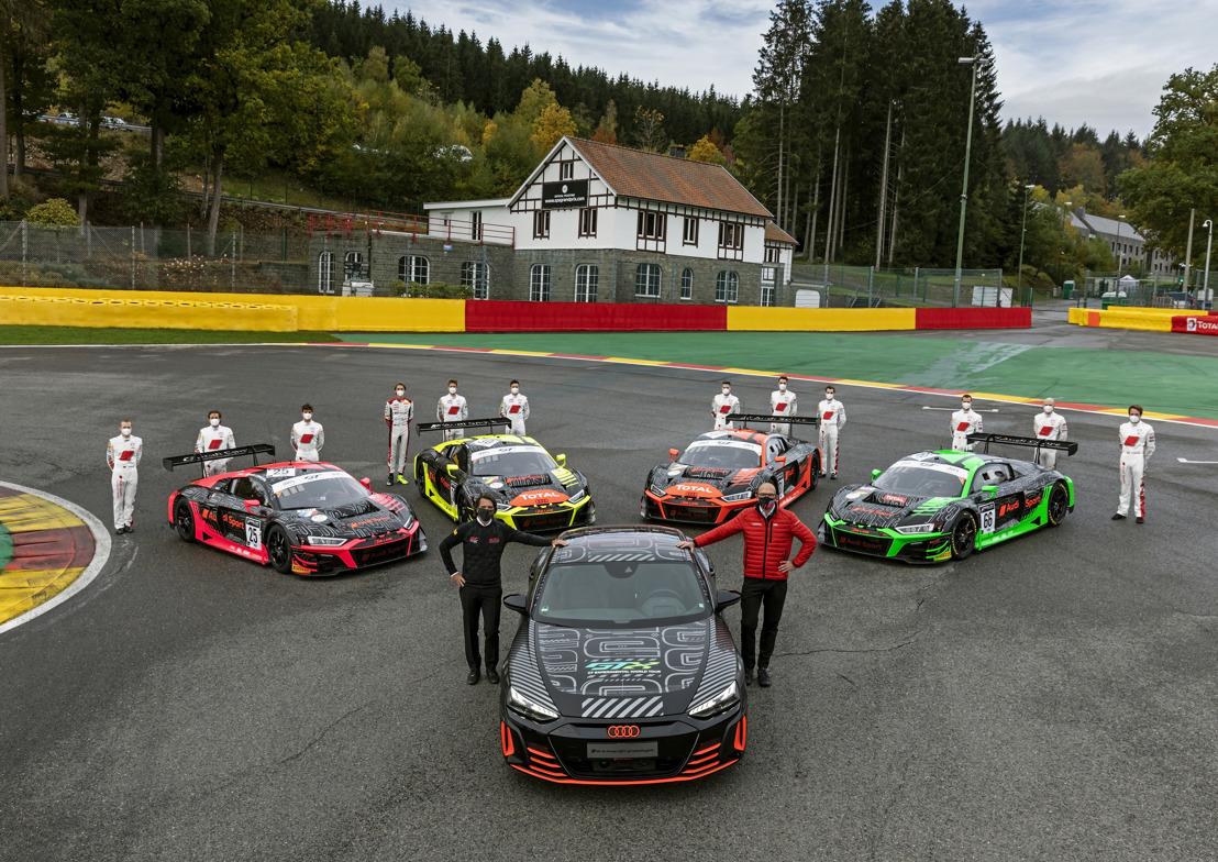 Audi R8 LMS en Audi RS e-tron GT prototype: het heden ontmoet de toekomst op de Total 24 Hours of Spa