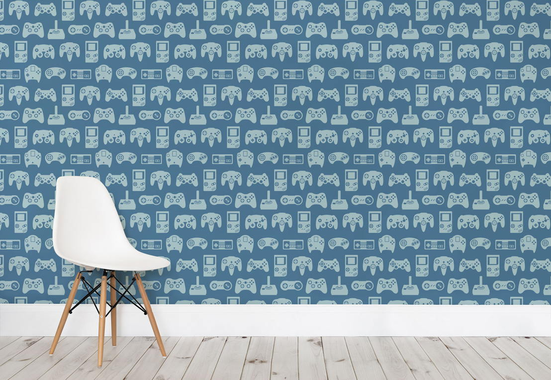 Blue Retro Game Wall Mural