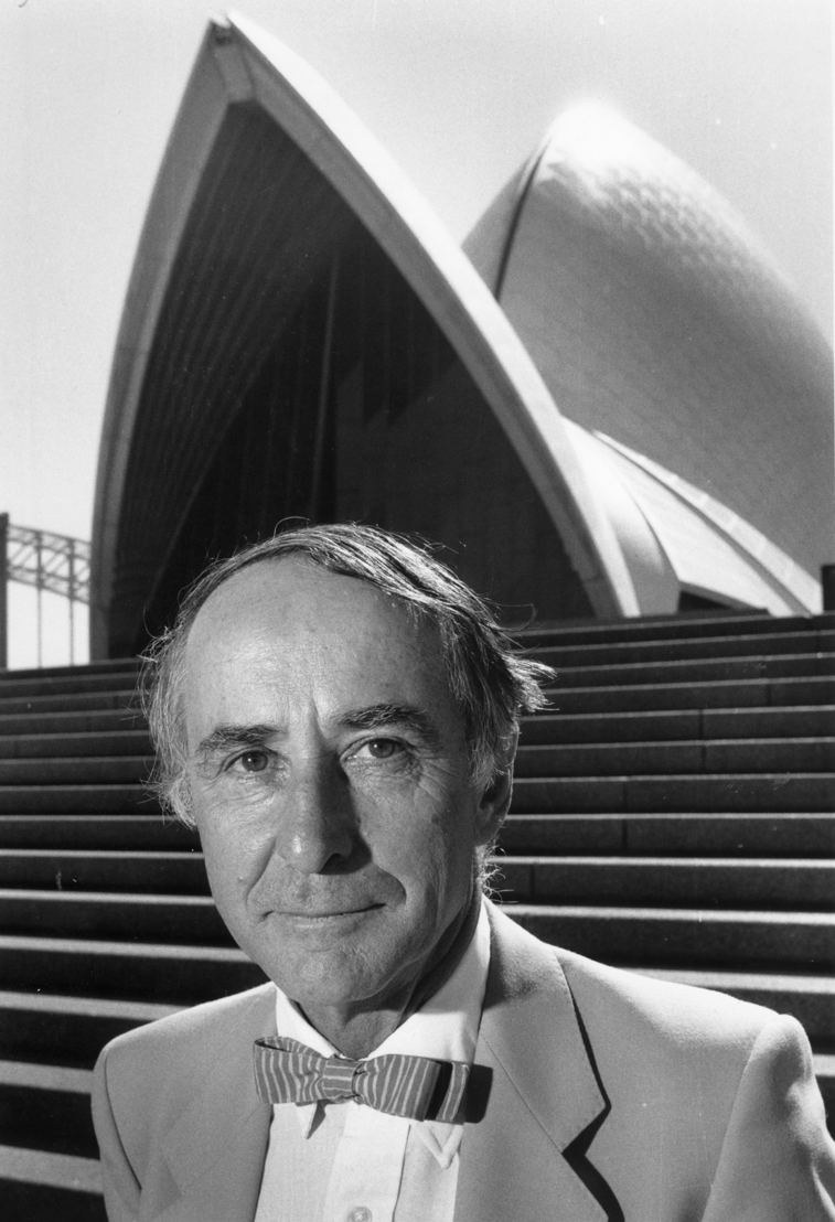 Peter Hall in front of the Sydney Opera House