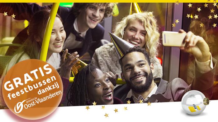 Ook in 2019 gratis feestbussen De Lijn op oudejaarsnacht dankzij de Provincie Oost-Vlaanderen