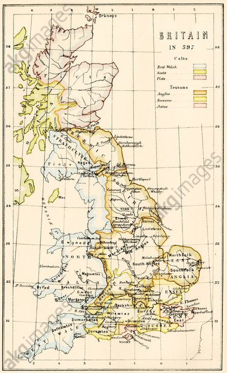 Map of territory controlled by Celts, Picts, Anglos, Saxons, and other tribes in Britain in 597 AD. Printed colour lithograph of a 19th-century illustration<br/>AKG892457