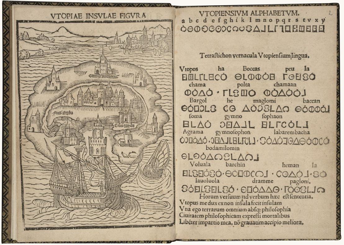 Auf der Suche nach Utopia © Thomas More, Libellus vere aureus ... de optimo reip. statu, deq(ue) noua Insula Utopia (die erste Ausgabe von Utopia), Leuven, Dirk Martens, 1516. Brüssel, Königliche Bibliothek Belgiens