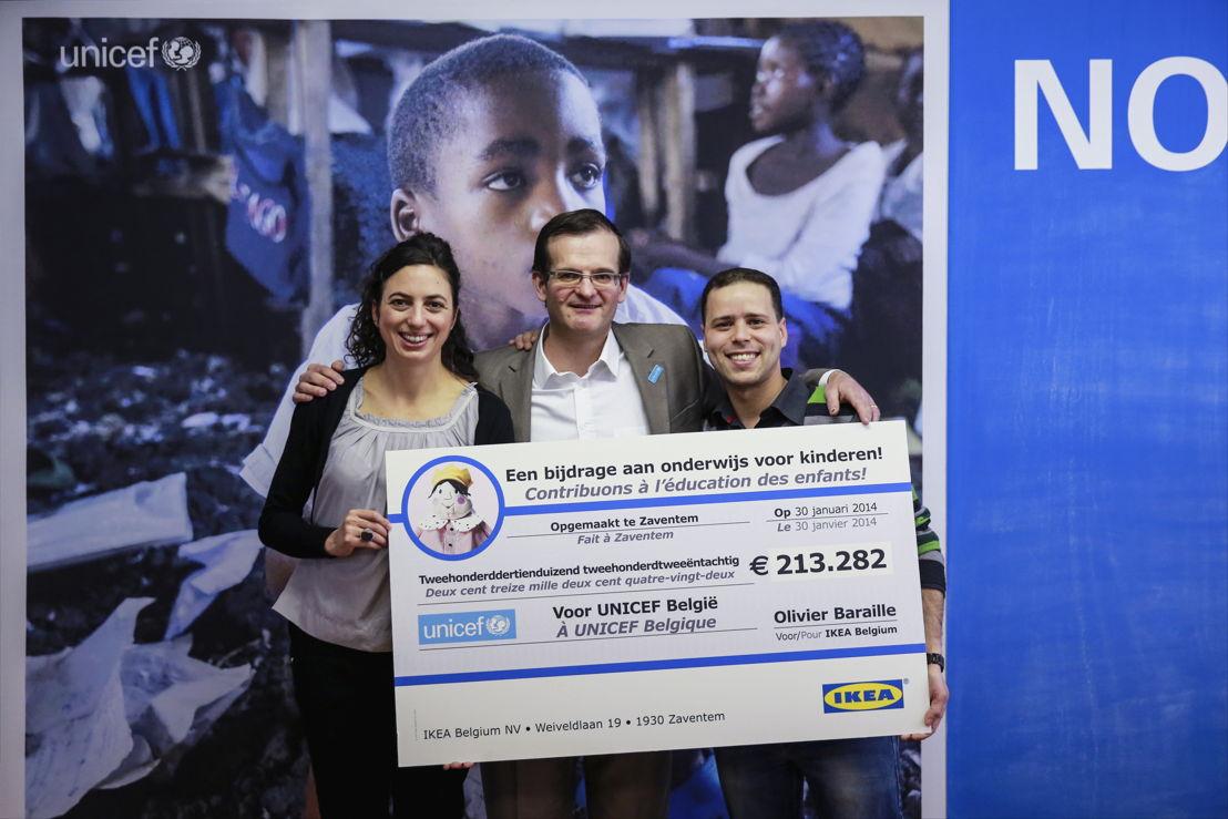 Overhandiging van de cheque van 213.282 euro aan UNICEF België