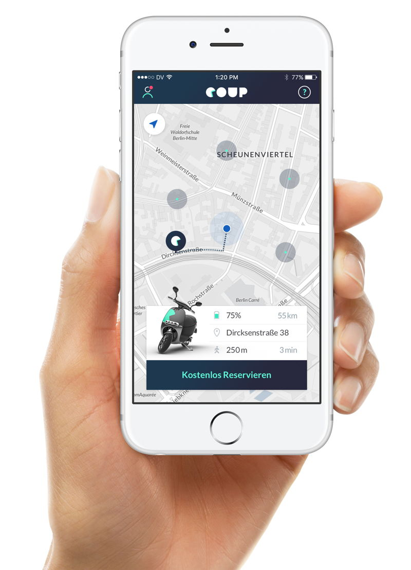 Coup offers app-controlled eScooter sharing service